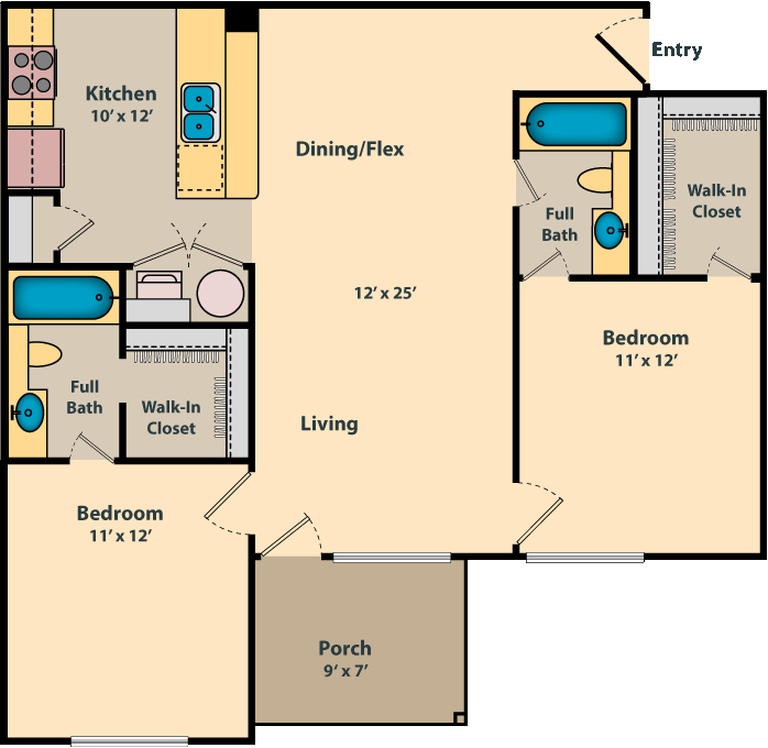 2 Bedroom + 2 Bath - 984 SF floor plan