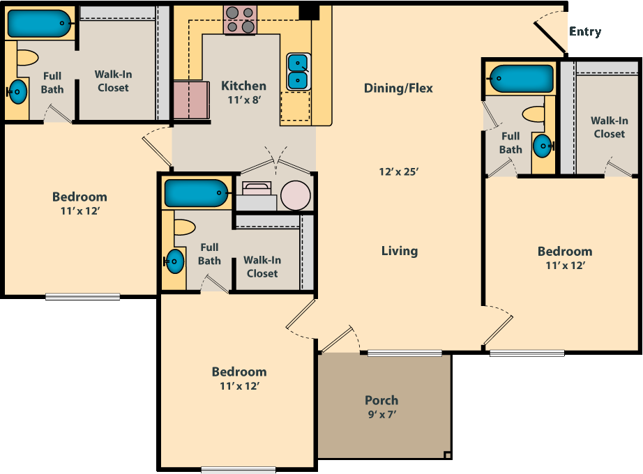 3 Bedroom + 3 Bath - 1220 SF floor plan