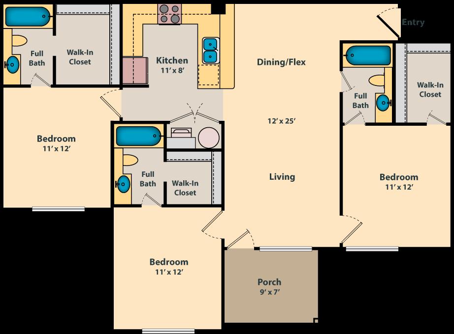 3 Bedroom Bath 1220 Sf Floor Plan